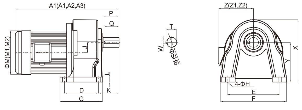 động cơ băng tải chân đế